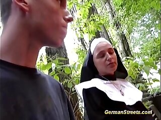 Naughty nun fucks on street