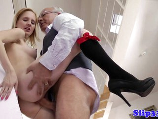 Blonde schoolgirl pounded by old man