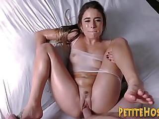 Small amateur gets covered in oil and fucked  hard in hd