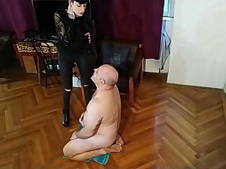 Slim Mistress spit a. her old fat slave pt1 HD