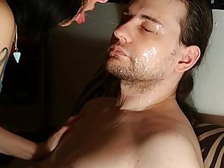 I love Daddy's hairy face so I lick it for him with lots of saliva pt2 HD